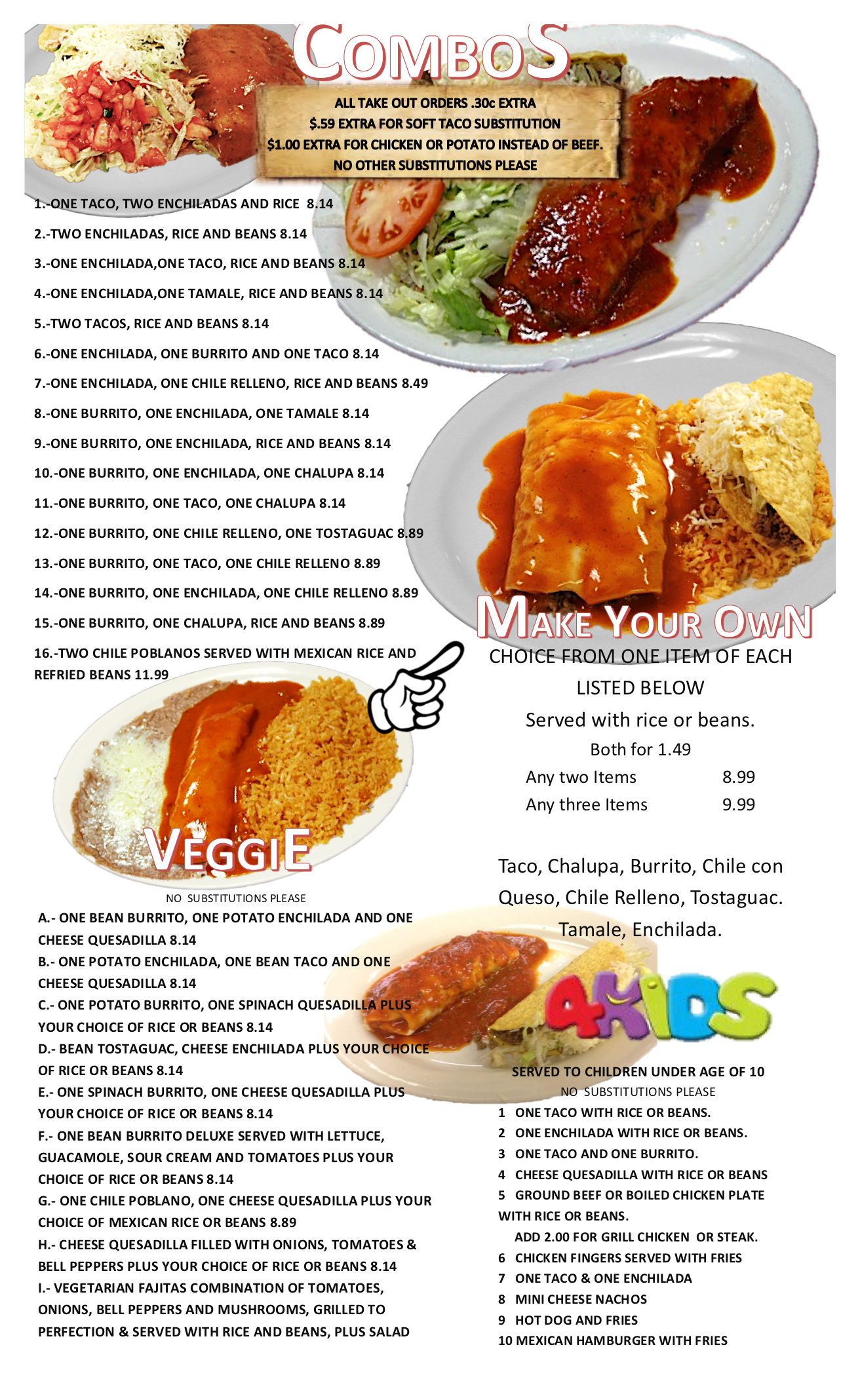 combos veggie and kids menu corona mexican restaurant